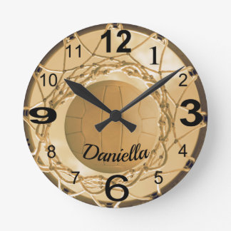 Reloj Redondo Mediano Netball personalizado nombre de encargo