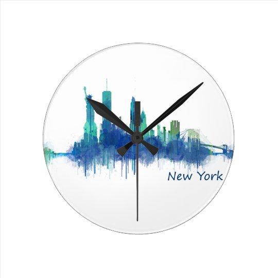 Reloj Redondo Mediano New York Skyline Watercolor blue v05