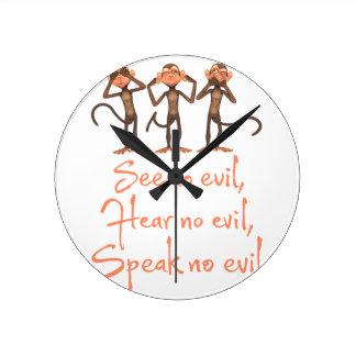 Reloj Redondo Mediano No vea ningún mal - no oír ningún mal - no hablar