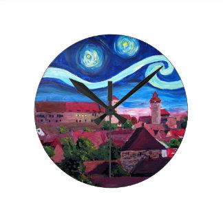 Reloj Redondo Mediano Noche estrellada en Nuremberg Alemania con el