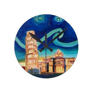 Reloj Redondo Mediano Noche estrellada en Pisa con la torre inclinada