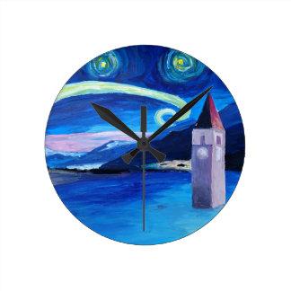 Reloj Redondo Mediano Noche estrellada en Suiza - Vierwaldstätter ve