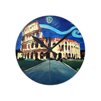 Reloj Redondo Mediano Noche estrellada sobre Colloseum en Roma Italia