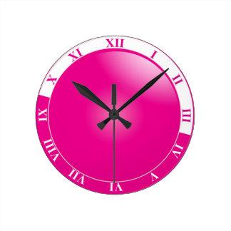 Reloj Redondo Mediano Número romano bonito del rosa fuerte y blanco