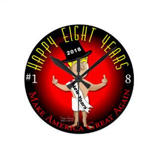 Reloj Redondo Mediano Ocho Años Nuevos felices