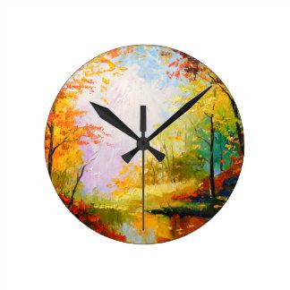 Reloj Redondo Mediano Otoño de oro