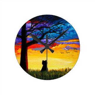 Reloj Redondo Mediano Paisaje colorido Creationarts del roble del gato