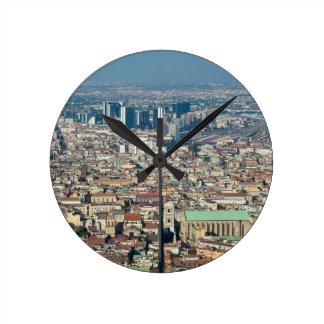 Reloj Redondo Mediano Panorama de Nápoles