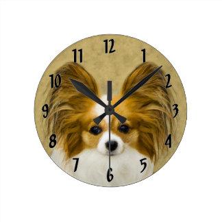 Reloj Redondo Mediano Papillon (tri color del perro)