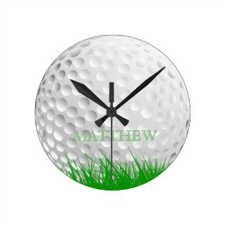 Reloj Redondo Mediano Pelota de golf personalizada en hierba