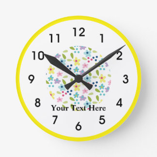 Reloj Redondo Mediano Pequeñas flores enrrolladas