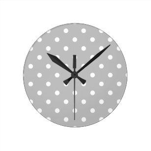 Reloj Redondo Mediano Pequeños lunares - blanco en gris claro