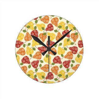 Reloj Redondo Mediano Peras lindas hermosas en colores del otoño