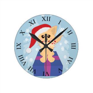 Reloj Redondo Mediano Perrito del navidad
