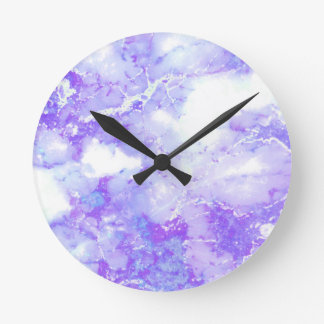 Reloj Redondo Mediano Piedra de mármol nublada de la lavanda púrpura