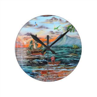 Reloj Redondo Mediano Pintura de Bell del chapucero de la ensenada del