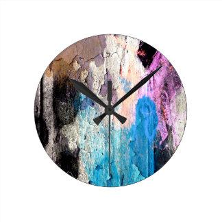 Reloj Redondo Mediano Pintura de la peladura en azul, púrpura, rosa