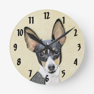Reloj Redondo Mediano Pintura del fox terrier del juguete - arte