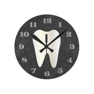 Reloj Redondo Mediano Pizarra blanca del diente del cuidado dental de la