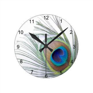 Reloj Redondo Mediano Pluma del pavo real