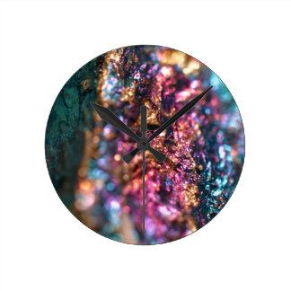 Reloj Redondo Mediano Polainas del mineral de pavo real