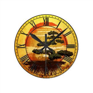 Reloj Redondo Mediano Puesta del sol japonesa del árbol de los bonsais