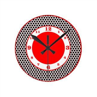 Reloj Redondo Mediano Puntos de polca negro, blanco y rojo