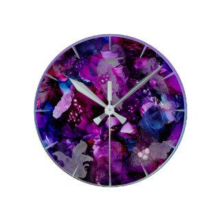 Reloj Redondo Mediano Púrpura dramática del extracto de las tintas