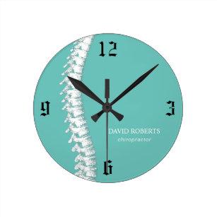 Reloj Redondo Mediano Quiropráctico Terapia espinal Verde azulada