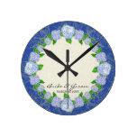 Reloj Redondo Mediano Regalo de boda formal floral del cordón azul del