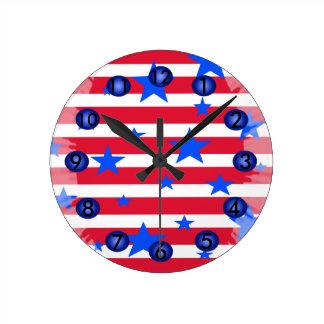 Reloj Redondo Mediano Regalos patrióticos de los E.E.U.U. de las rayas