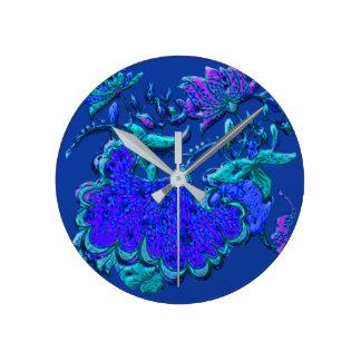 Reloj Redondo Mediano Remake floral del adorno