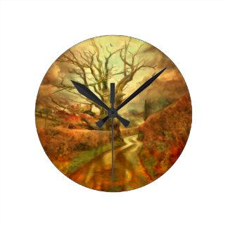 Reloj Redondo Mediano Roble viejo .......