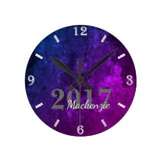 Reloj Redondo Mediano Rosa azul púrpura elegante de encargo el | del