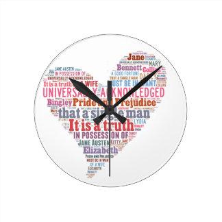 Reloj Redondo Mediano Rosa de la nube de la palabra del orgullo y del