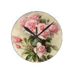 Reloj Redondo Mediano Rosas rosados elegantes lamentables del Victorian