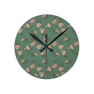 Reloj Redondo Mediano Rosas rosados en la turquesa