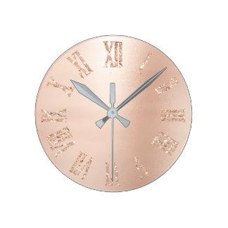 Reloj Redondo Mediano Se ruboriza el número romano metálico del