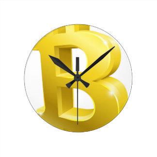 Reloj Redondo Mediano Símbolo de la muestra del oro de Bitcoin 3d