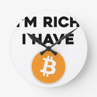 Reloj Redondo Mediano Soy rico - tengo Bitcoin