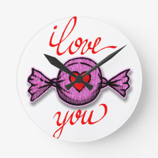 Reloj Redondo Mediano Te amo (caramelo rosado)