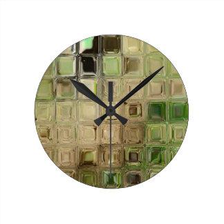 Reloj Redondo Mediano Tejas del vidrio verde