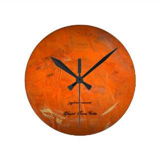 Reloj Redondo Mediano Terracota esmaltada