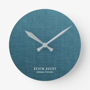 Reloj Redondo Mediano Textura de lino azul de Personalzied