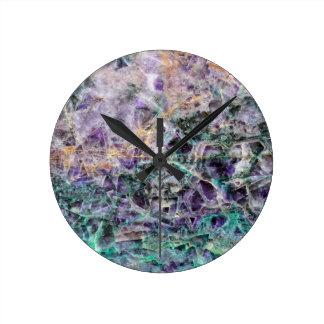 Reloj Redondo Mediano textura de piedra amethyst