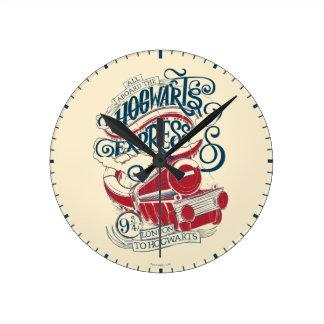 Reloj Redondo Mediano Tipografía expresa de Harry Potter el | Hogwarts