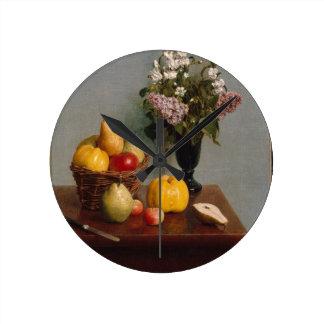 Reloj Redondo Mediano Todavía vida con las flores y la fruta
