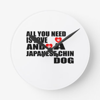 Reloj Redondo Mediano Todos usted necesita diseños de los perros de CHIN