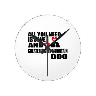 Reloj Redondo Mediano Todos usted necesita MAYORES perros SUIZOS del