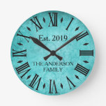 Reloj Redondo Mediano Trullo elegante del número romano del apellido del